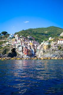 Riomaggiore in Cinque Terre, Italy - Summer 2016 - view from the sea