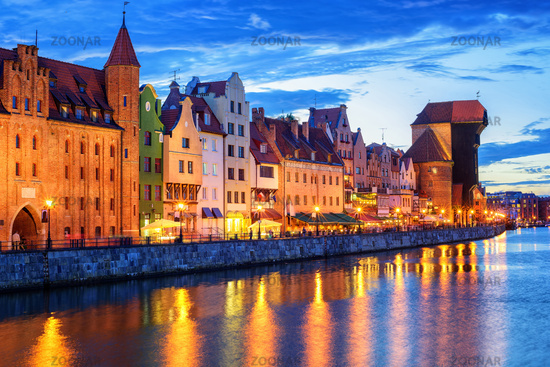 Gothic facades facing Motlawa River in Gdansk, Poland