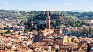 above view Verona with Santa Anastasia Church
