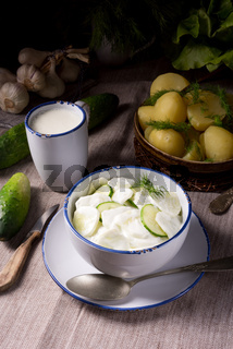 Mizeria is a Polish cucumber salad,