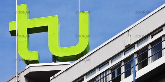 logo of TU Dortmund University on the Mathetower, Dortmund, Ruhr Area, Germany
