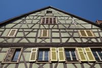 half timbered house in the old town of Colmar
