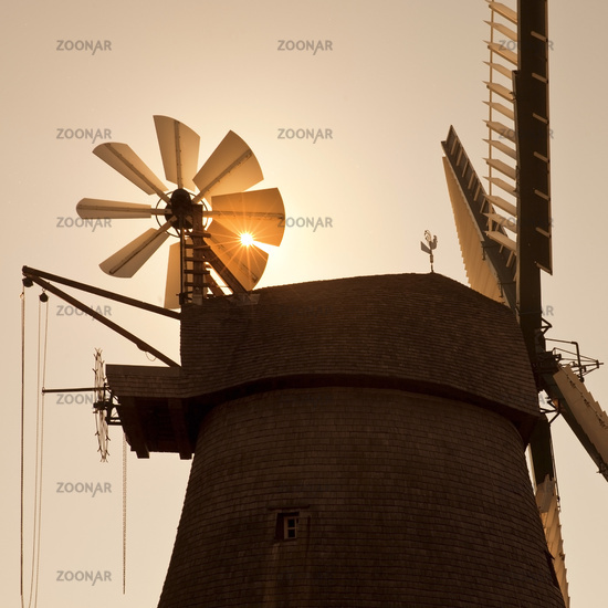 wind mill Exter in the evening sun, Vlotho, North Rhine-westphalia, Germany, Europe