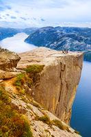 Cliff Preikestolen in fjord Lysefjord - Norway