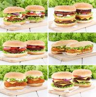 Hamburger Sammlung Collage Cheeseburger frische Fleisch Käse Tomaten Salat
