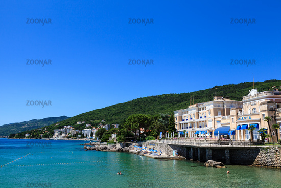 Adriatic Sea Scenic View, Opatija Town, Popular Tourist Destination of Croatian Coast