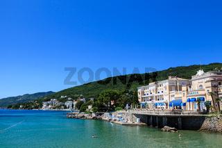 Adriatic Sea Scenic View, Opatija Town, Popular Tourist Destination of Croatian Coast