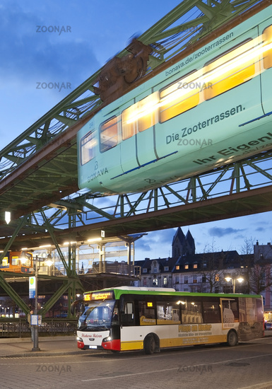 suspension railway WSW GTW Generation 15 at the station Oberbarmen, Wuppertal, Germany, Europe