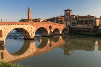 Verona cityscape with Ponte Pietra on Adige river with historical buildings