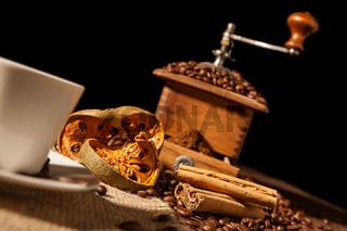 Close-up on dried orange fruit and cinnamon