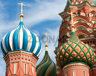 Domes of the famous Head of St. Basil's Cathedral on Red square,