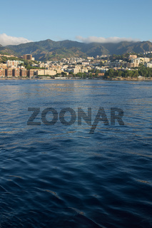 View from the stern of the ship Overlooking the coast of Messina