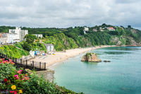 Aerial beach view from the town North Side of Tenby Beach, Wales