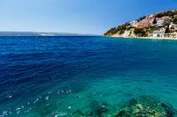 Deep Blue Sea with Transparent Water and Beautiful Adriatic Beach in Croatia