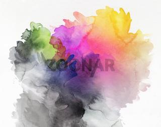 aquarell abstrakt verlauf, von grau zu farbig