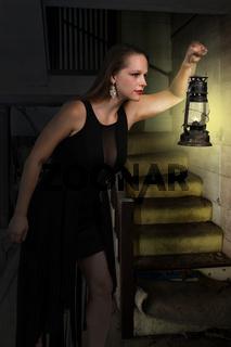 Woman holding lantern