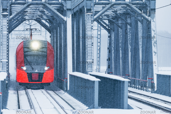 Highspeed train moves through the bridge.