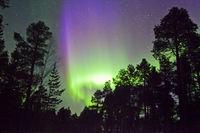 Green and purple Aurora Borealis in finnish Lapland