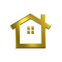 Gold Real Estate House Image. 3D Render Illustration