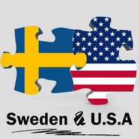 USA and Sweden flags in puzzle