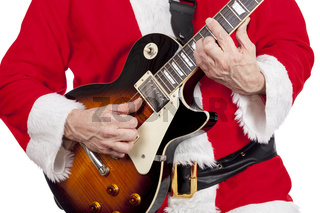 Father christmas playing an electric guitar on a pure white background