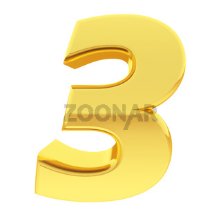 Gold number 3 with gradient reflections isolated on white. High resolution 3D image