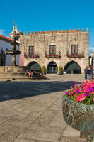 VIANA DO CASTELO, PORTUGAL - 22 SEPTEMBER, 2016: Famous Town Hall at the Praca da Republica in Viana do Castelo, Portugal.