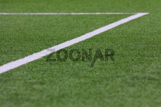 Fußballrasen, Strafraum in Unschärfe schräg