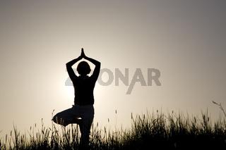Frau macht Yoga Übung - der Baum