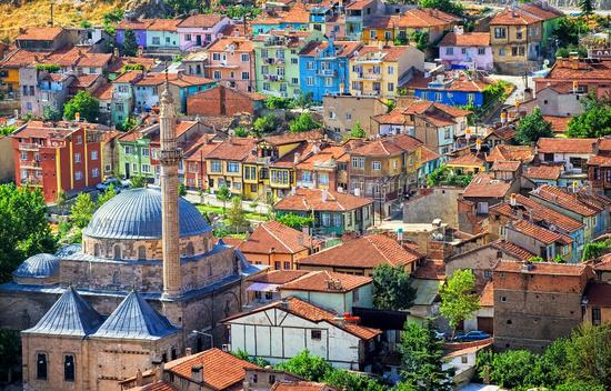 Colorful traditional ottoman houses, Afyon, Turkey