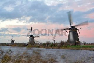 Windmills in sunset