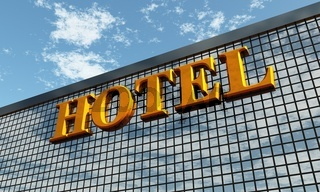 3D - Big golden HOTEL sign