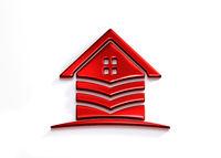 Red House Stripes. 3D Rendering Illustration