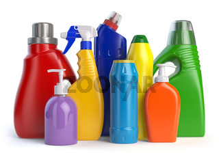 Detergent bottles or containers. Cleaning supplies isolated on white background.