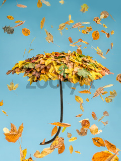 Umbrella covered with autumn leaves falling down over blue sky