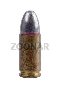 Gun bullet on a white background