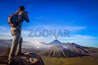 Trekker And Volcano
