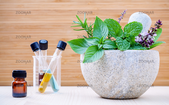 Alternative health care and herbal medicine .Fresh herbs and aromatic oil with mortar and pestle on wooden background. Various herbs rosemary ,sage ,sweet basil leaves and green mint branch.