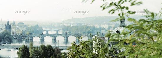 Prague, bridges river fall, panorama view, 2017