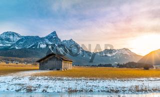 Alpine scenery at  winter sundown