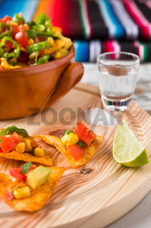 Nachos chips with vegetables tequila lime and salt