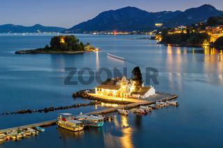 Korfu Corfu Griechenland Vlachernon Vlacherna Kirche Kanoni Abend Insel Reise Meer