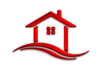 Red House Real Estate. 3D Render Illustration