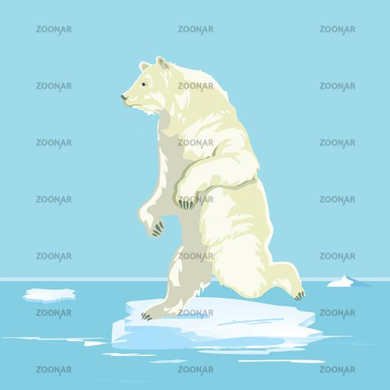 Polar bear on a small ice floe, illustration
