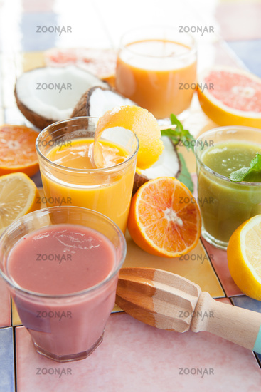Assorted fresh smoothies