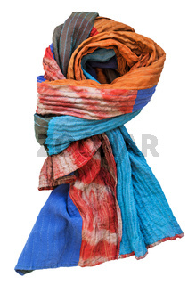 knotted stitched scarf from batik and painted silk