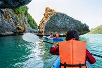 Group of tourists on a kayak