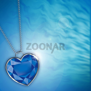 card with blue diamond heart for design