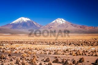 Nevado Sajama and Parinacota volcanoes