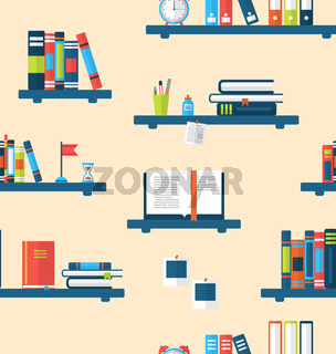 Seamless Texture with Books on Bookshelves